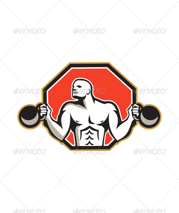 GraphicRiver Strongman Lifting Kettlebell Front Retro 5961953