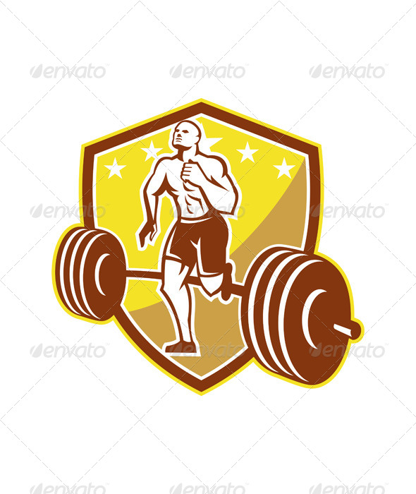 GraphicRiver Crossfit Athlete Runner Barbell Shield Retro 5962008