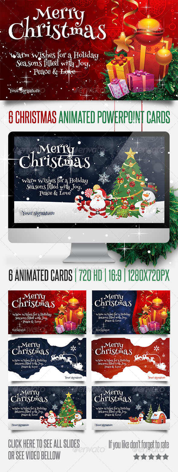 6 Christmas Powerpoint Animated Cards - Miscellaneous Powerpoint Templates