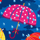 Seamless Pattern with Colorful Umbrellas Clouds