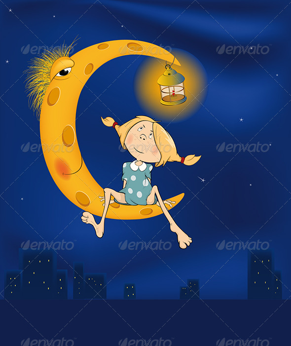 GraphicRiver The Girl and the Moon Cartoon 5962738
