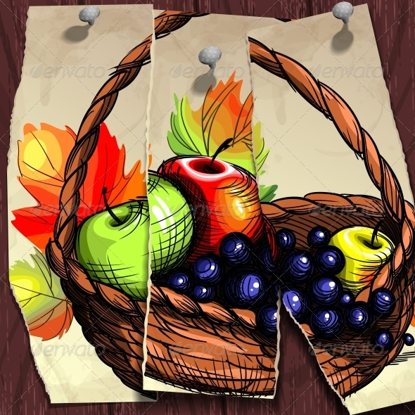 GraphicRiver Autumn Banner Fruit Basket 5962845