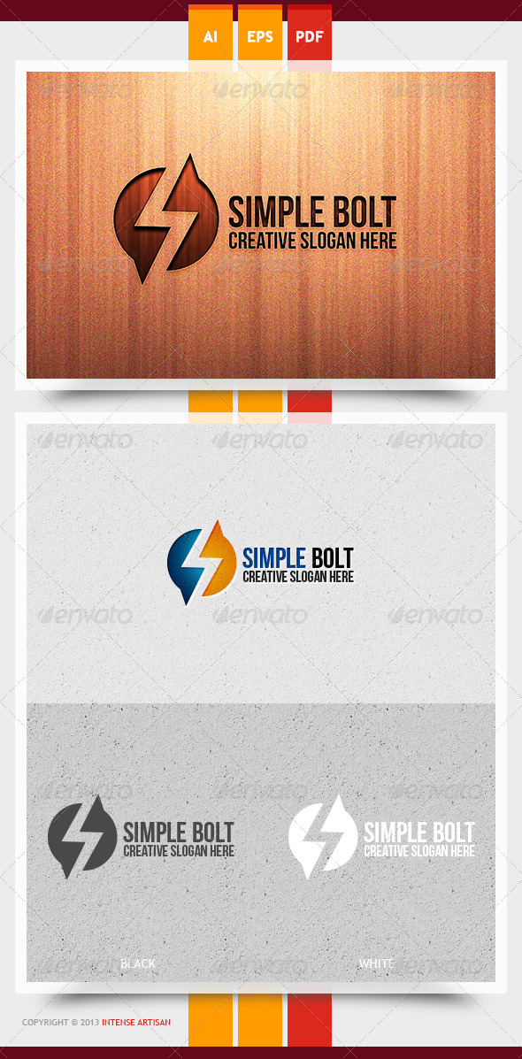 Simple Bolt Logo Template - Letters Logo Templates