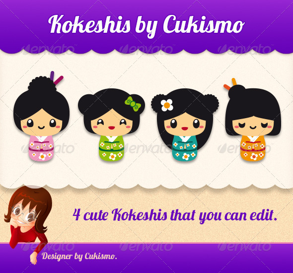 GraphicRiver Cute Kokeshis 5963248