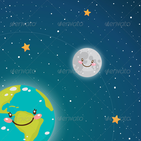 GraphicRiver Earth and Moon in Space 5963412