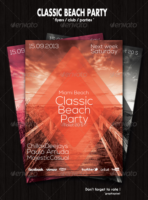 Classic Beach Party Flyer - GraphicRiver