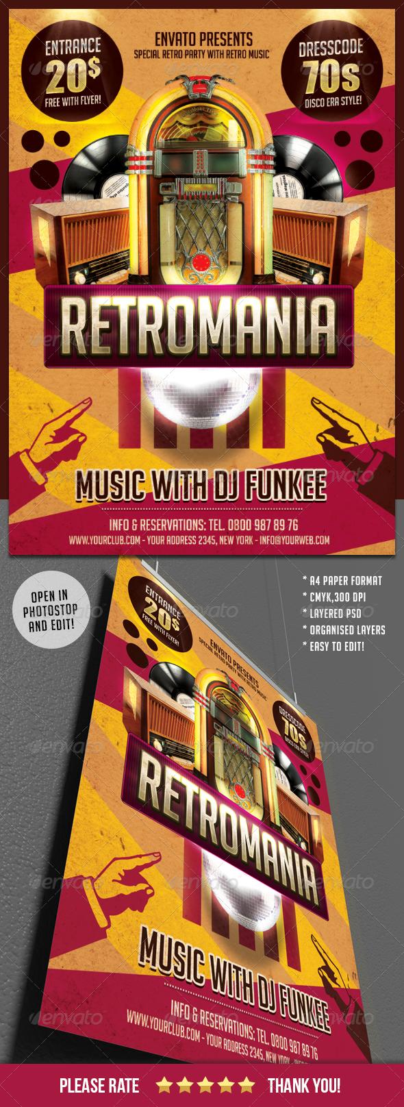 GraphicRiver Retromania Party Flyer Template 5964000