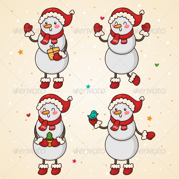 GraphicRiver Snowman Set 5964611