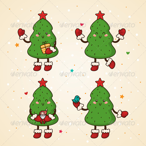 GraphicRiver Christmas Tree Set 5964686