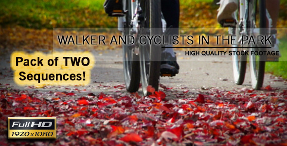 VideoHive Walker And Cyclists In The Park 5965247
