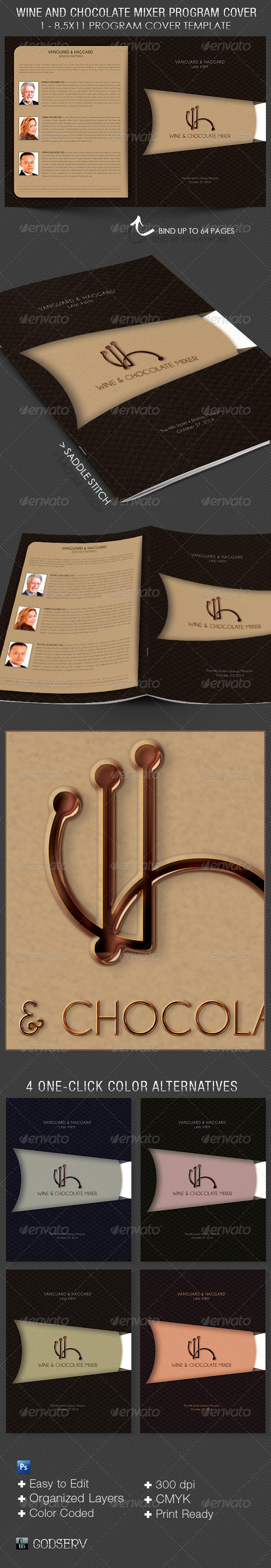 GraphicRiver Wine and Chocolate Mixer Program Cover Template 5965592
