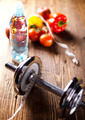Diet and fitness, dumbell with vitamin