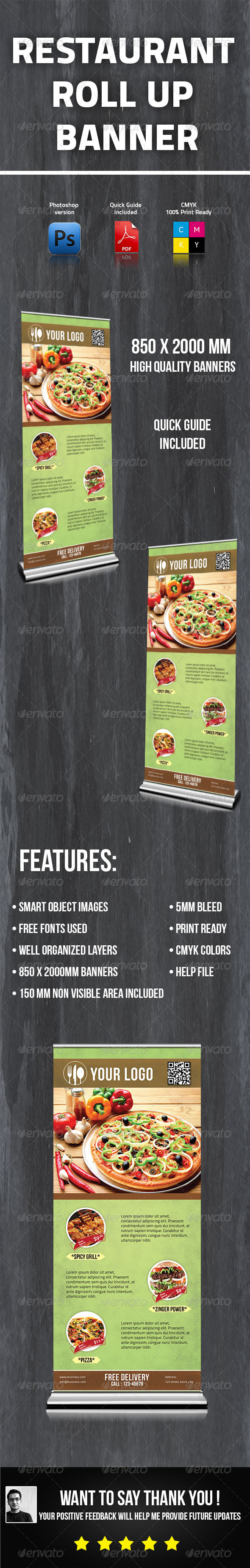 Restaurant Roll Up Banner - Signage Print Templates