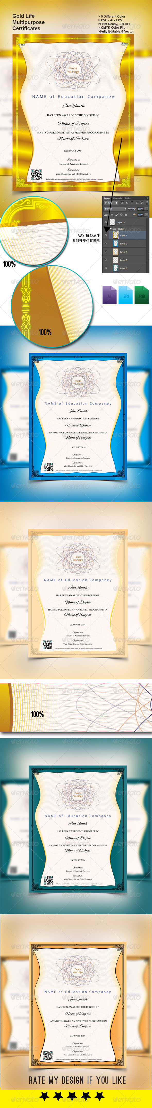 GraphicRiver Gold Life Multipurpose Certificates 002 5968220