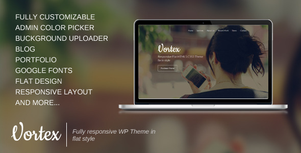 ThemeForest Vortex One Page Parallax Flat WordPress Theme 5968745