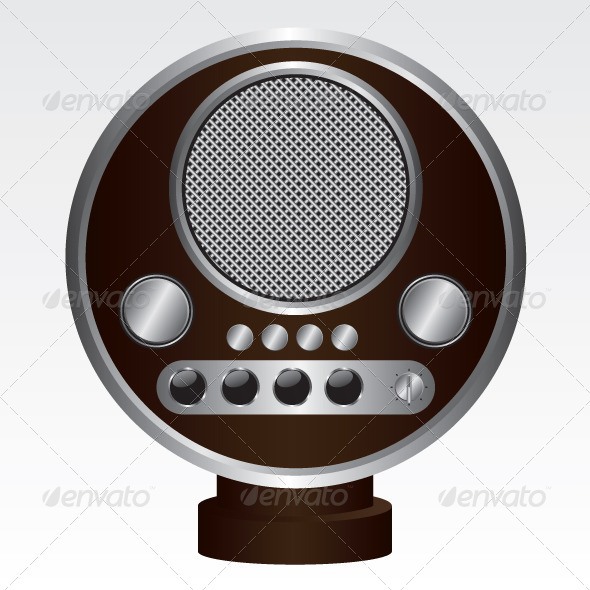 Retro Radio Brown Illustration