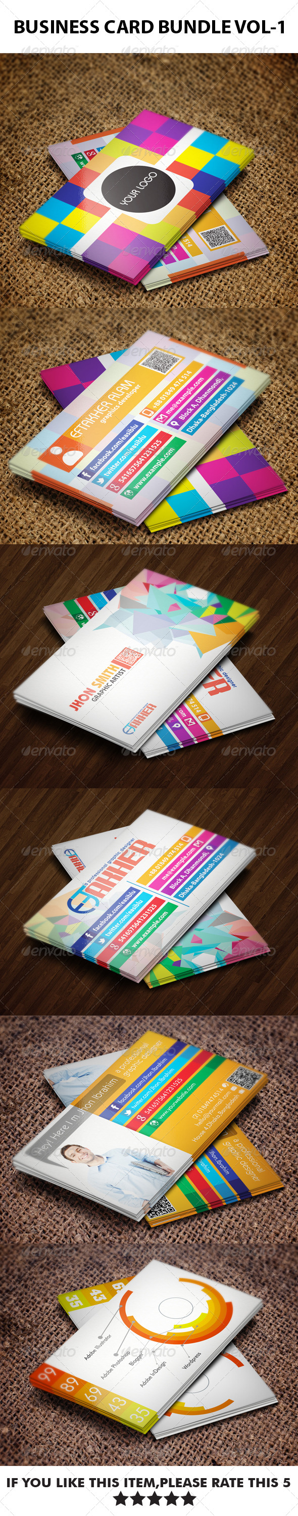 GraphicRiver 3 in 1 Business Cards Bundle VOL-1 5968783