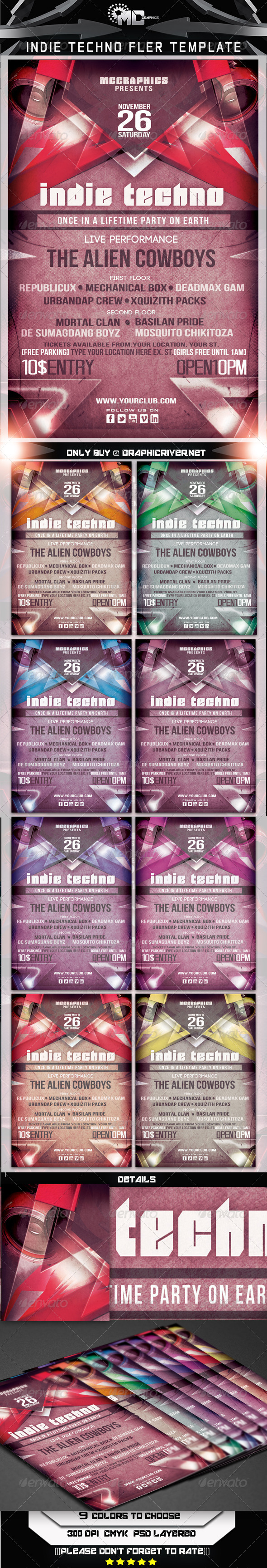 GraphicRiver Indie Techno Flyer Template 5969617