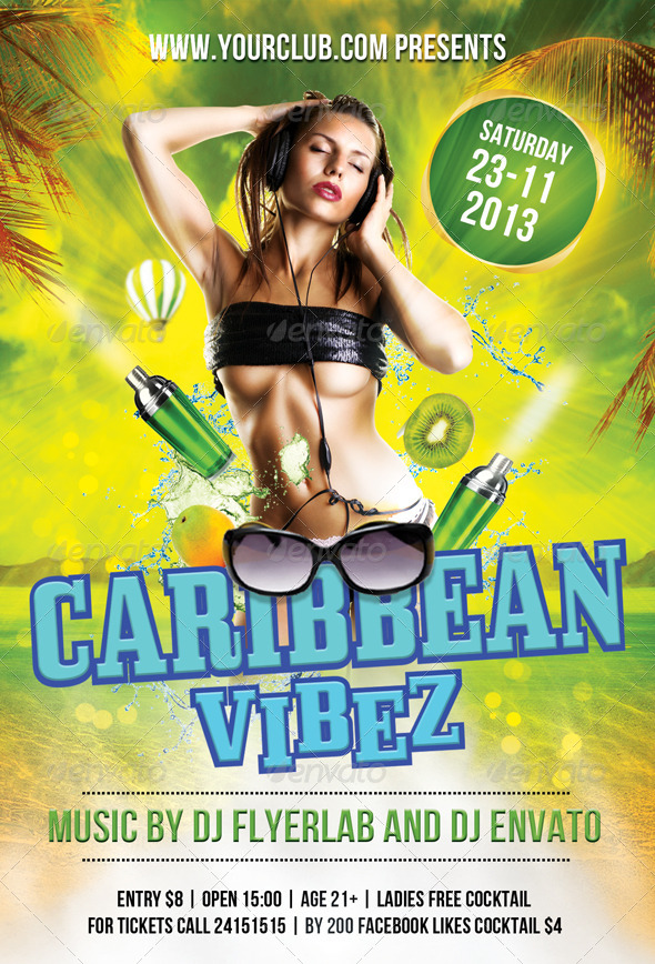 Flyer Template Caribbean Vibez | GraphicRiver