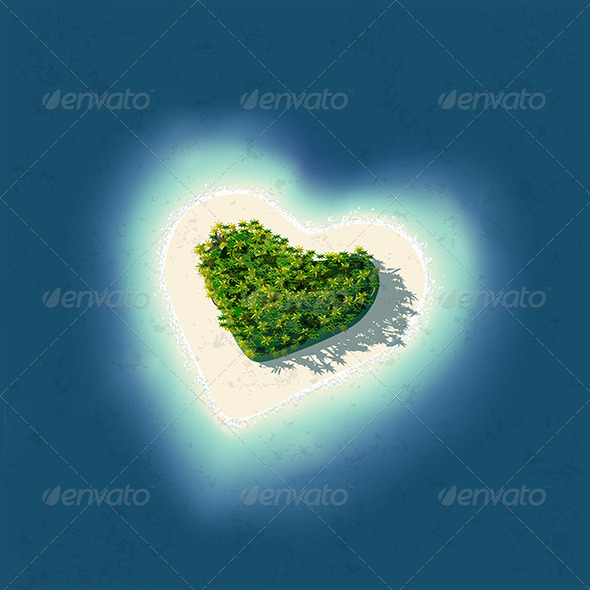 GraphicRiver Heart Shaped Tropical Island 5969940