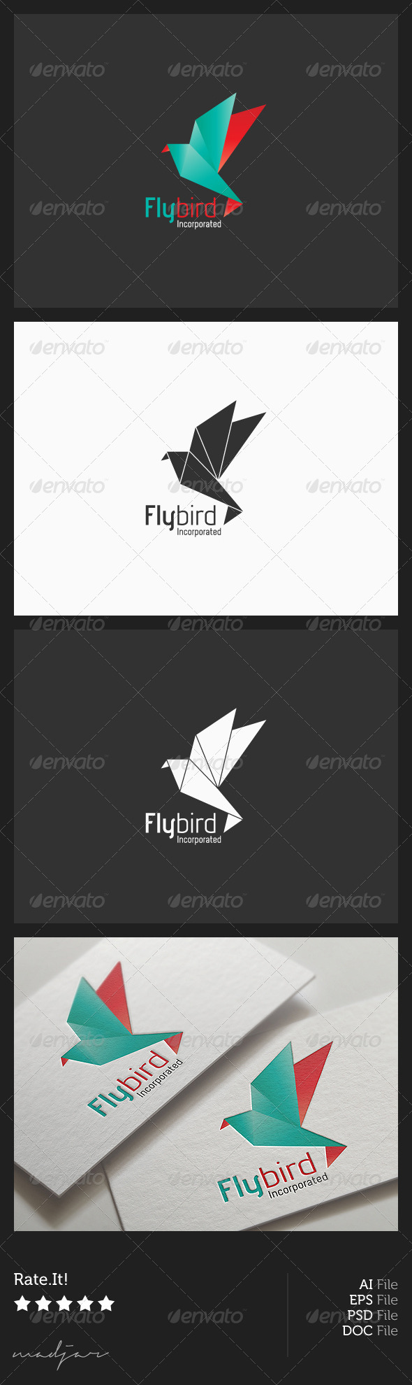 Origami Bird Logo - Animals Logo Templates