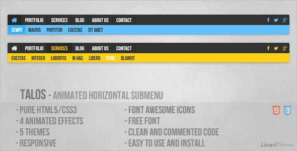 CodeCanyon Talos Animated Horizontal Submenu 5970301