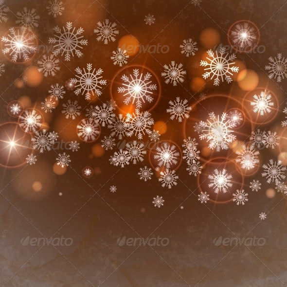 GraphicRiver Brown Background with Snowflakes 5970792
