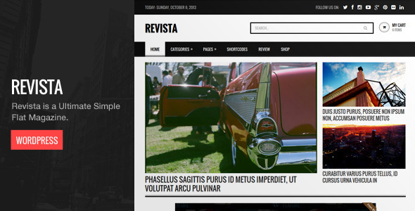 Revista is a ultimate simple flat magazine WordPress theme. It is suitable for Magazine, Blog, Fashion and any other type of blog. You can customize the homepag
