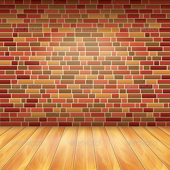 GraphicRiver Brick Wall and Wood Floor Vector Background 5971273