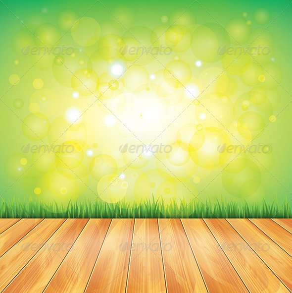 GraphicRiver Wood Floor and Green Grass Vector Background 5971278