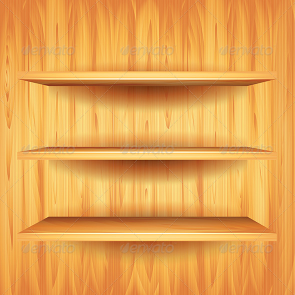 Wooden Shelves, Vector Background | GraphicRiver
