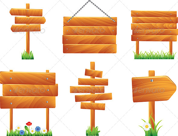 GraphicRiver Wooden Signs and Boards Vector Set 5971413