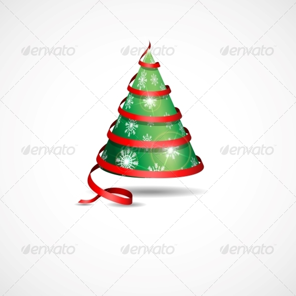 GraphicRiver Stylized Ribbon Christmas Tree 5971435