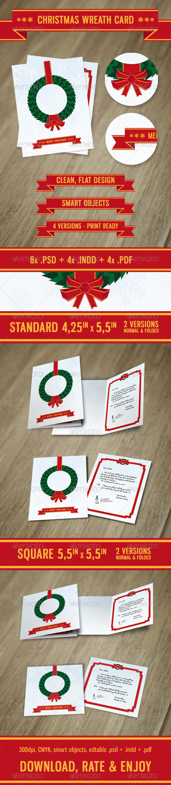 GraphicRiver Christmas Wreath Card 5971656