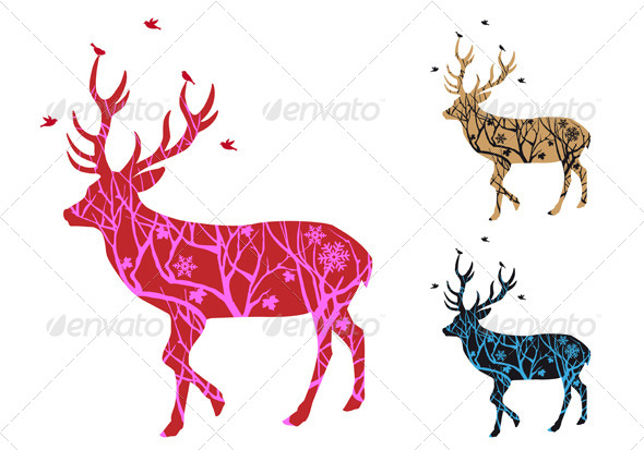 GraphicRiver Christmas Deer Silhouette with Birds 5971884