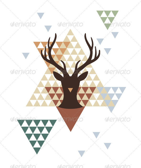 Christmas Deer with Abstract Geometric Pattern