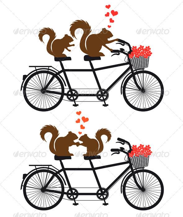 GraphicRiver Squirrels In Love on Bicycle 5971896