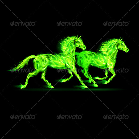 GraphicRiver Fire Horses in Green 5972102