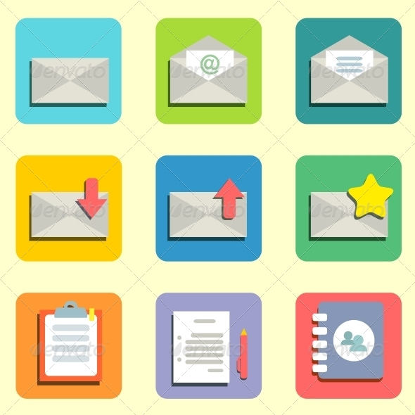 GraphicRiver Mail Flat Icons 5972134