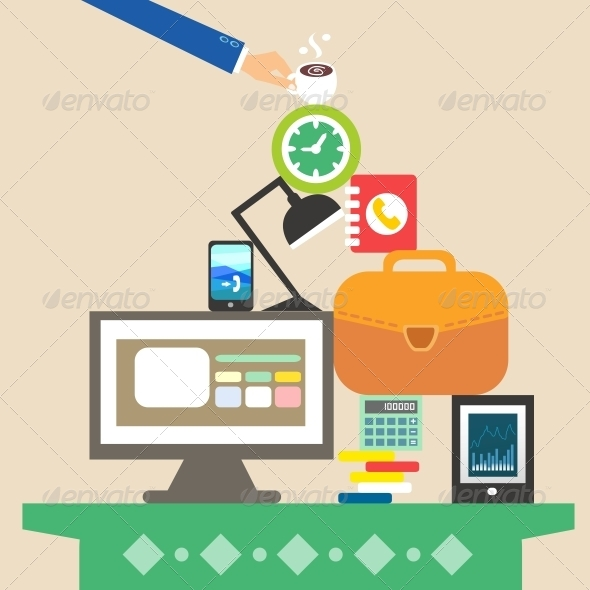 GraphicRiver Workplace and Business Objects for Hard Work 5972138