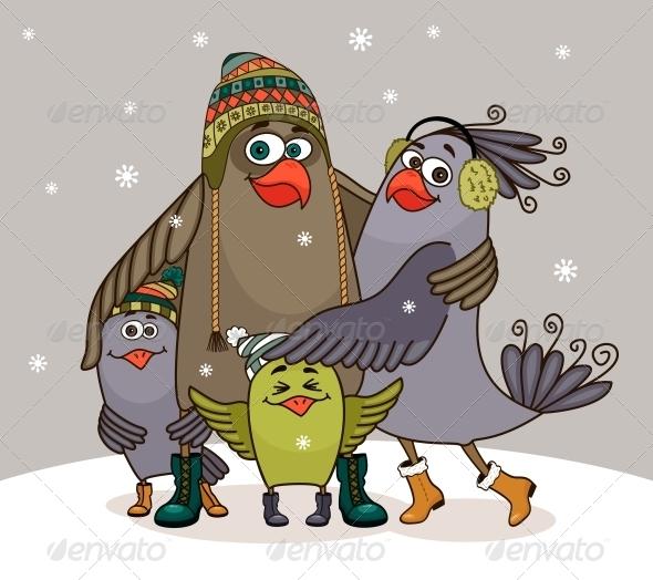 GraphicRiver Birds Happy Family 5972142