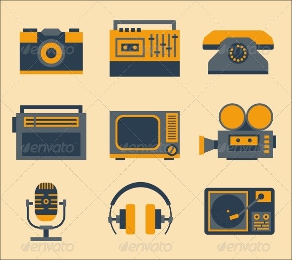 GraphicRiver Retro Media Icons 5972234