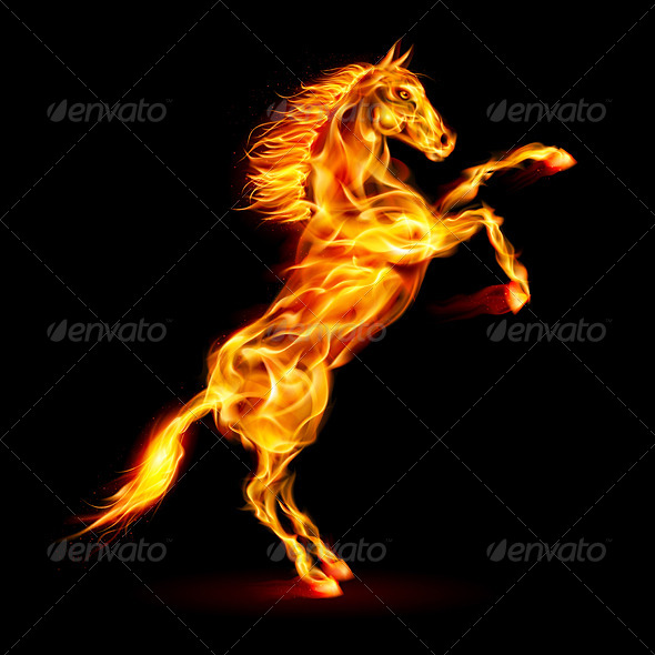 GraphicRiver Fire Horse Rearing Up 5972501