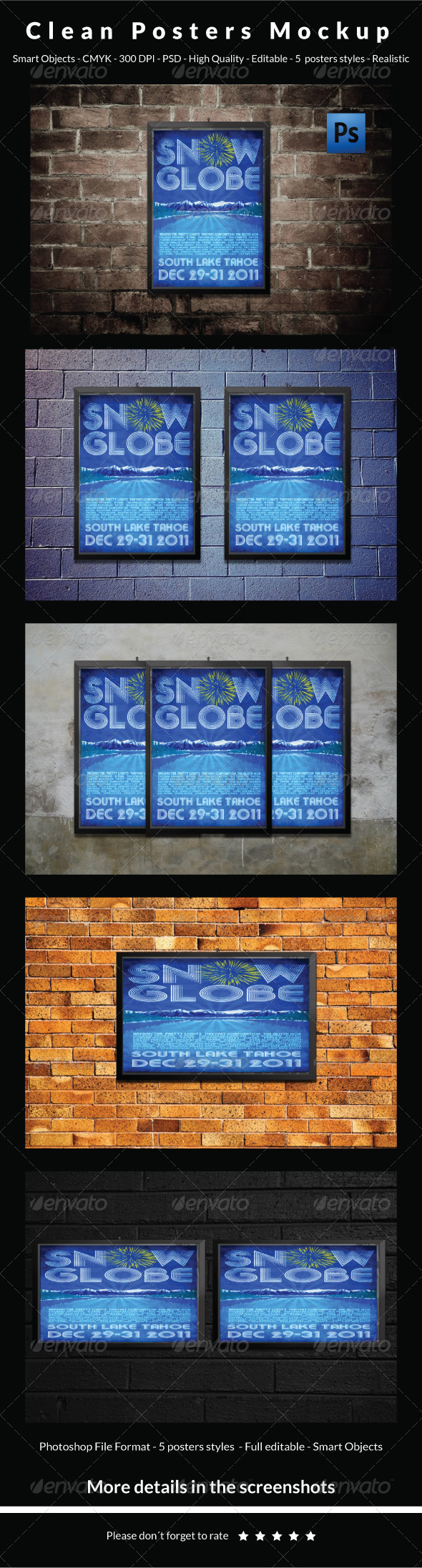 GraphicRiver Clean Posters Mockup 5959749