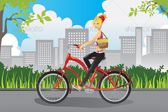 GraphicRiver Woman Riding a Bike 5972794