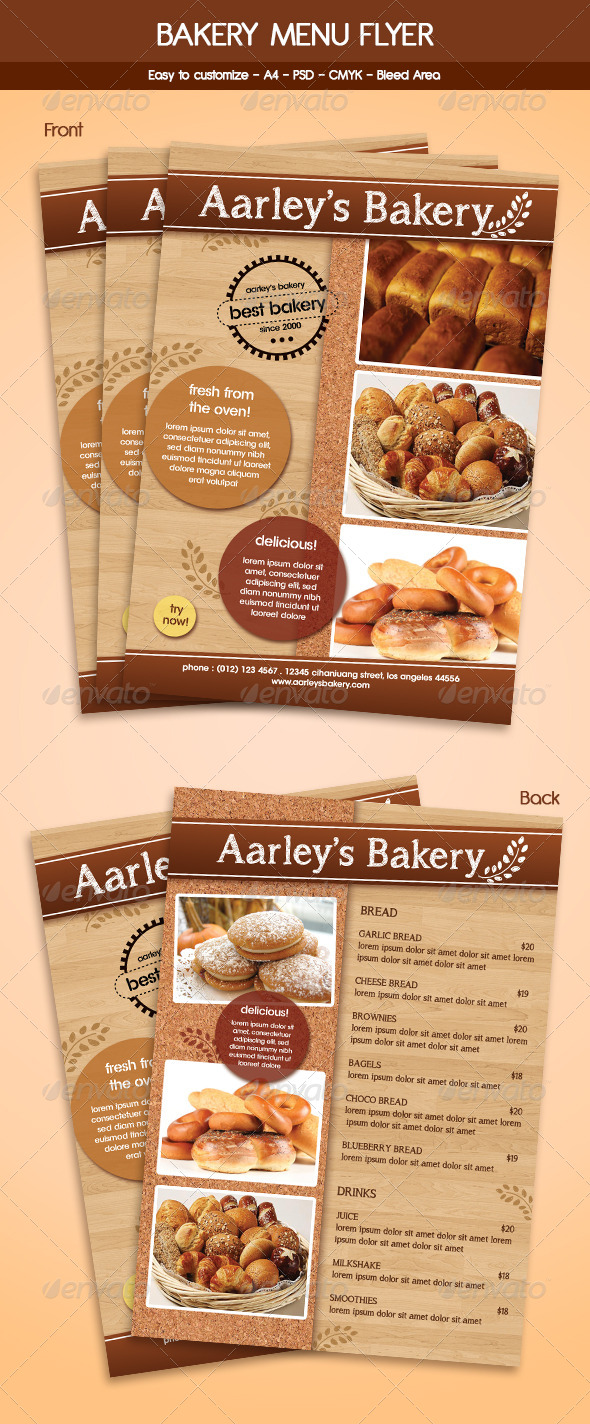 GraphicRiver Bakery Menu Flyer Template 5941302