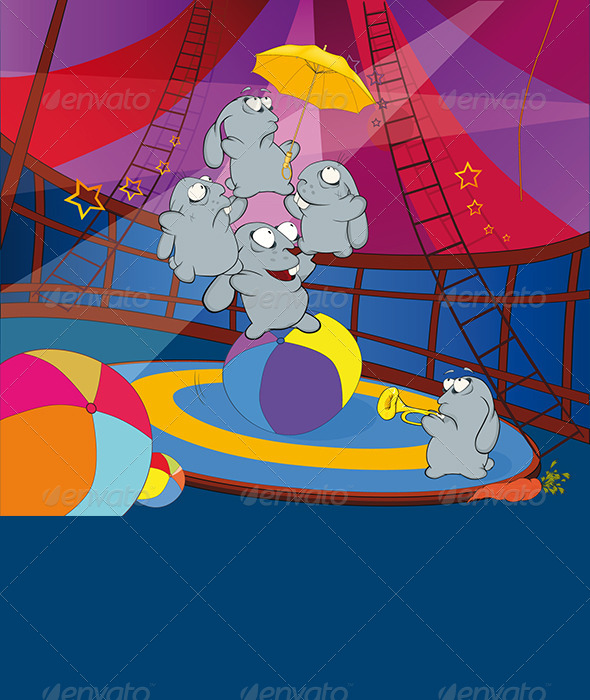 GraphicRiver Rabbits and Circus Cartoon 5973565