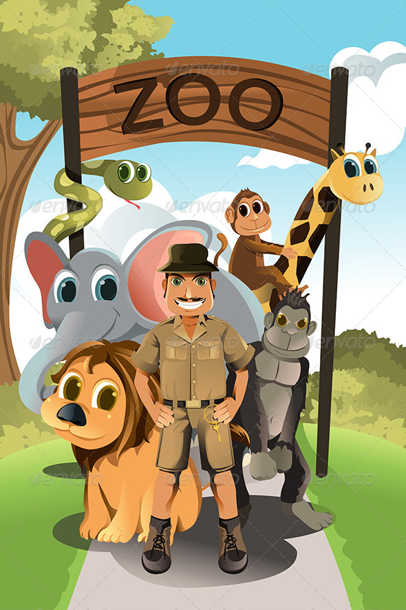 GraphicRiver Zookeeper and Wild Animals 5973708