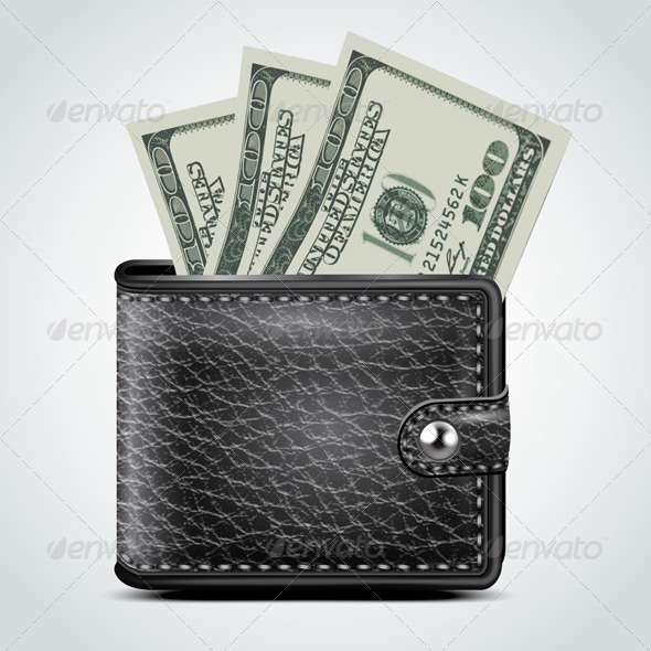 GraphicRiver Black Leather Wallet Dollar USA 5973801