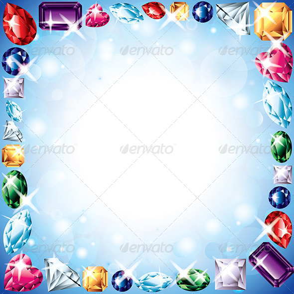 GraphicRiver Diamonds and Gemstones Vector Frame 5974048